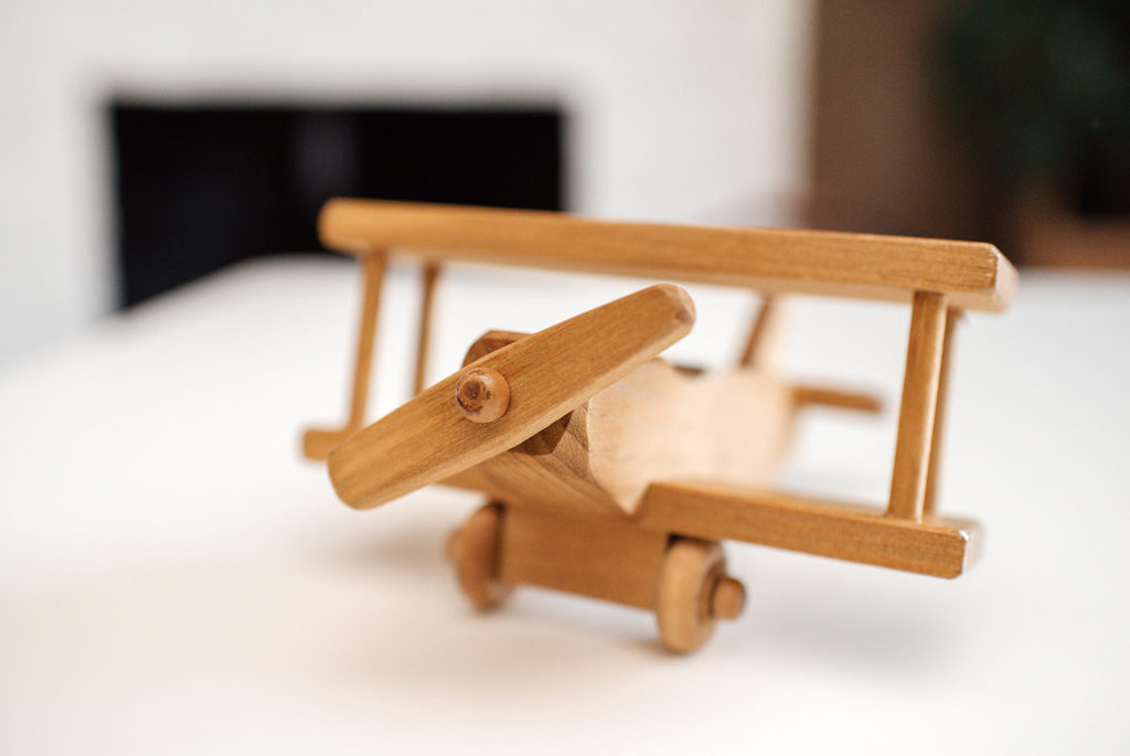 small wooden airplane toy